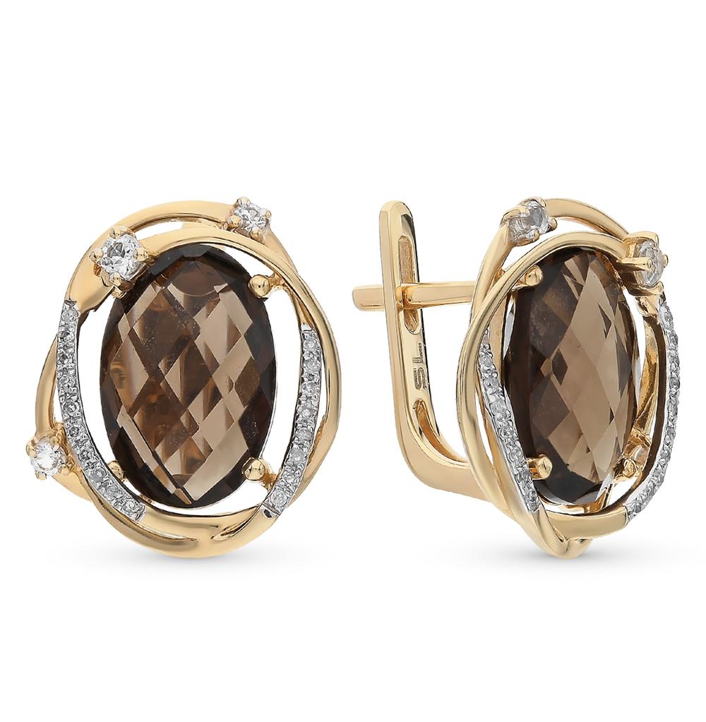 Золотые серьги с топазами, кварцами дымчатыми и бриллиантами в Екатеринбурге
