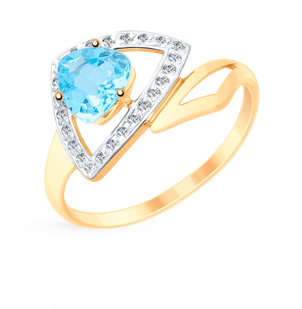 Фото «Золотое кольцо с топазами и фианитами SOKOLOV 715244*»