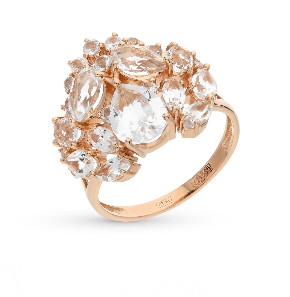 Фото «золотое кольцо с хрусталем и сапфирами»