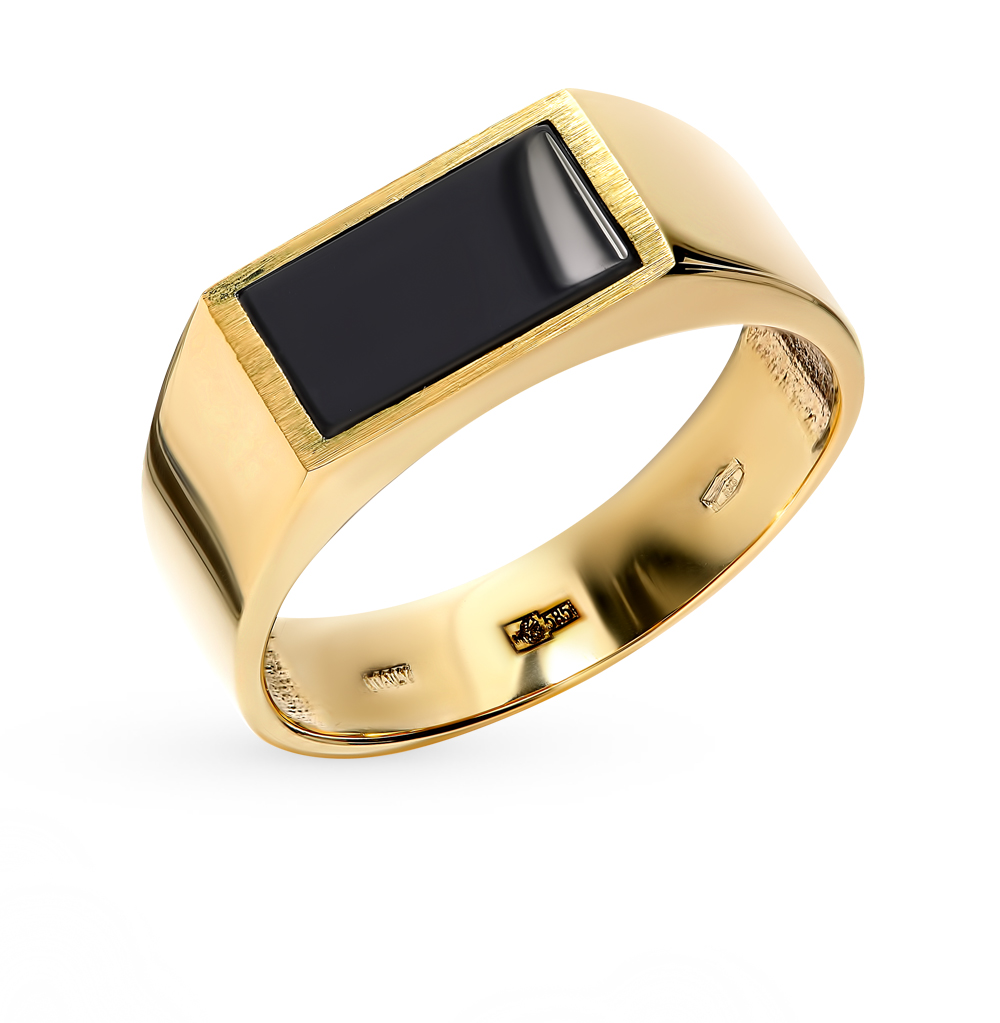Мужское золотое кольцо с вставкой из оникса в Екатеринбурге