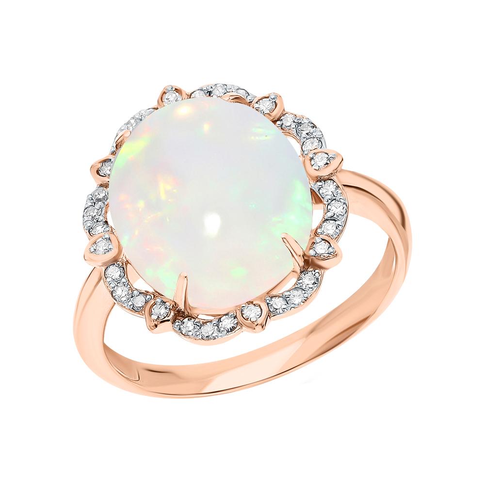 Фото «Золотое кольцо с опалами и бриллиантами»