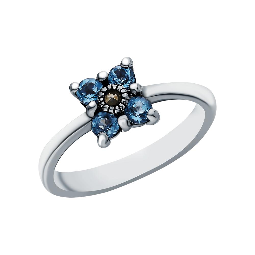 Серебряное кольцо с топазами и марказитами swarovski в Екатеринбурге