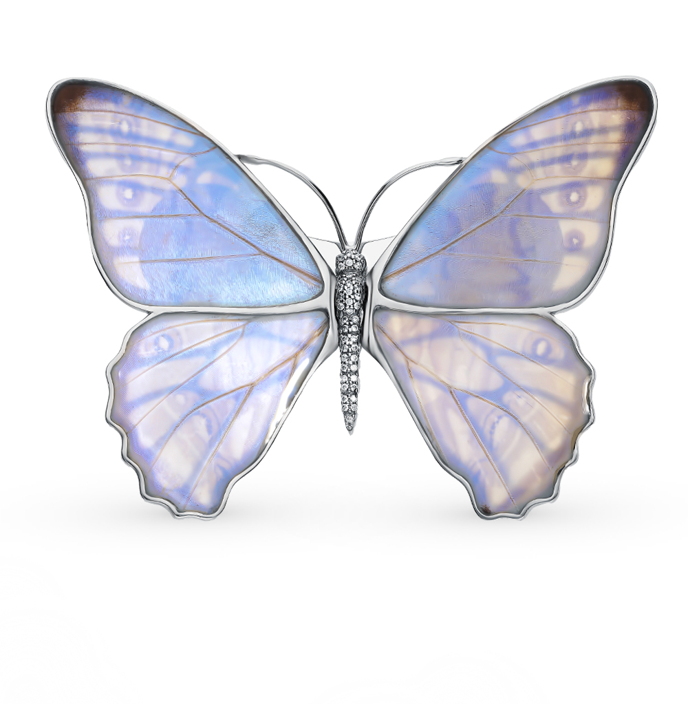 Серебряная брошь с фианитами, эмалью и крыльями бабочки, 9.5 см в Санкт-Петербурге