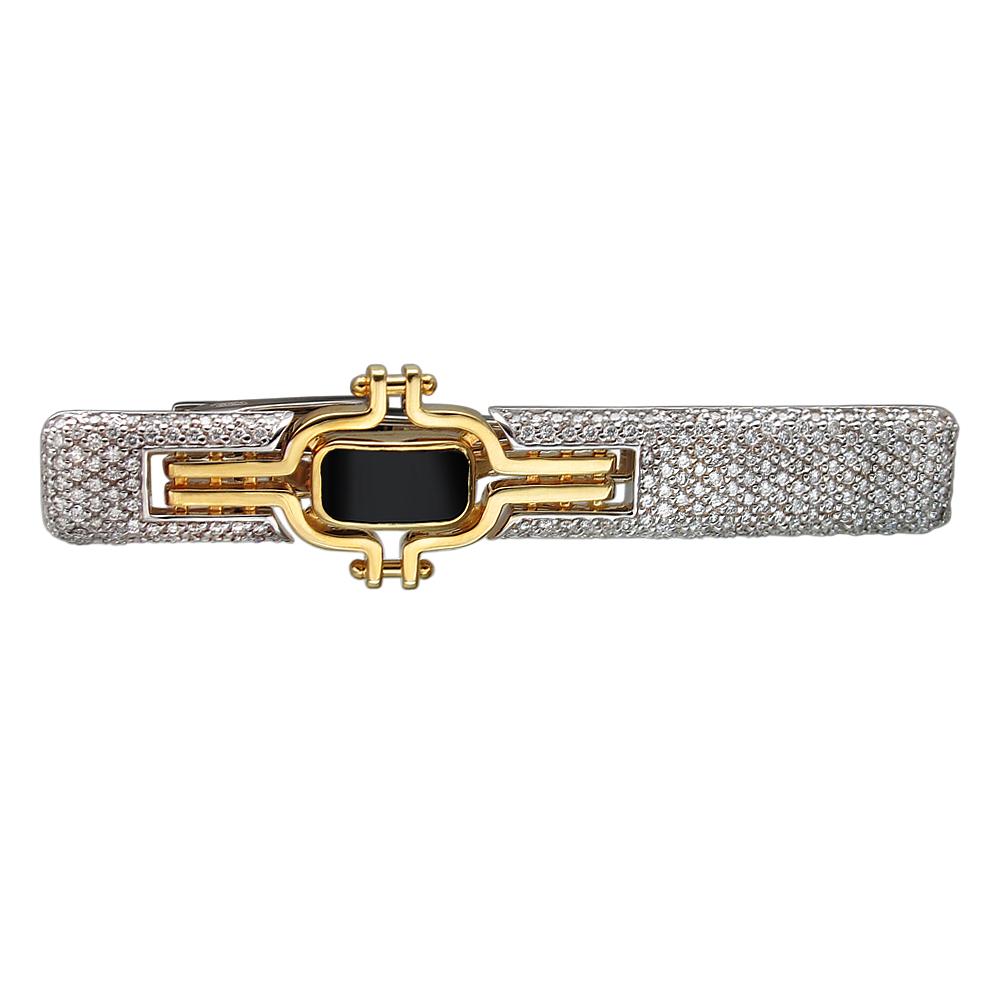 золотой зажим для галстука с ониксом и бриллиантами