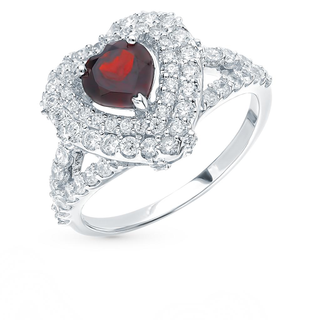 Серебряное кольцо с фианитами и гранатом в Санкт-Петербурге