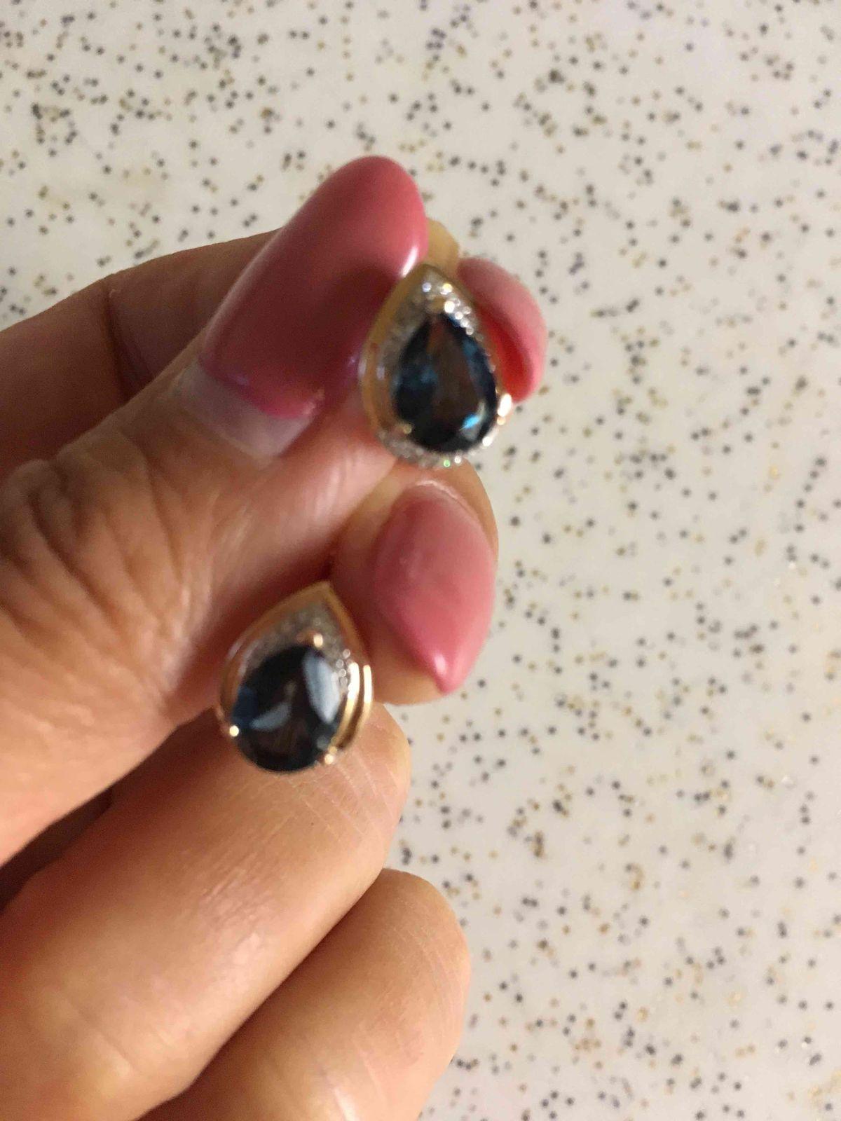Серьги с лондон топазом и бриллиантами