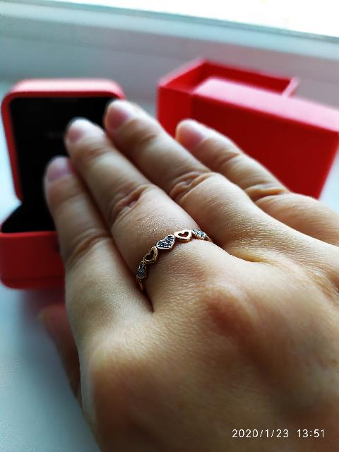 Идеальное золотое колечко с бриллиантами!
