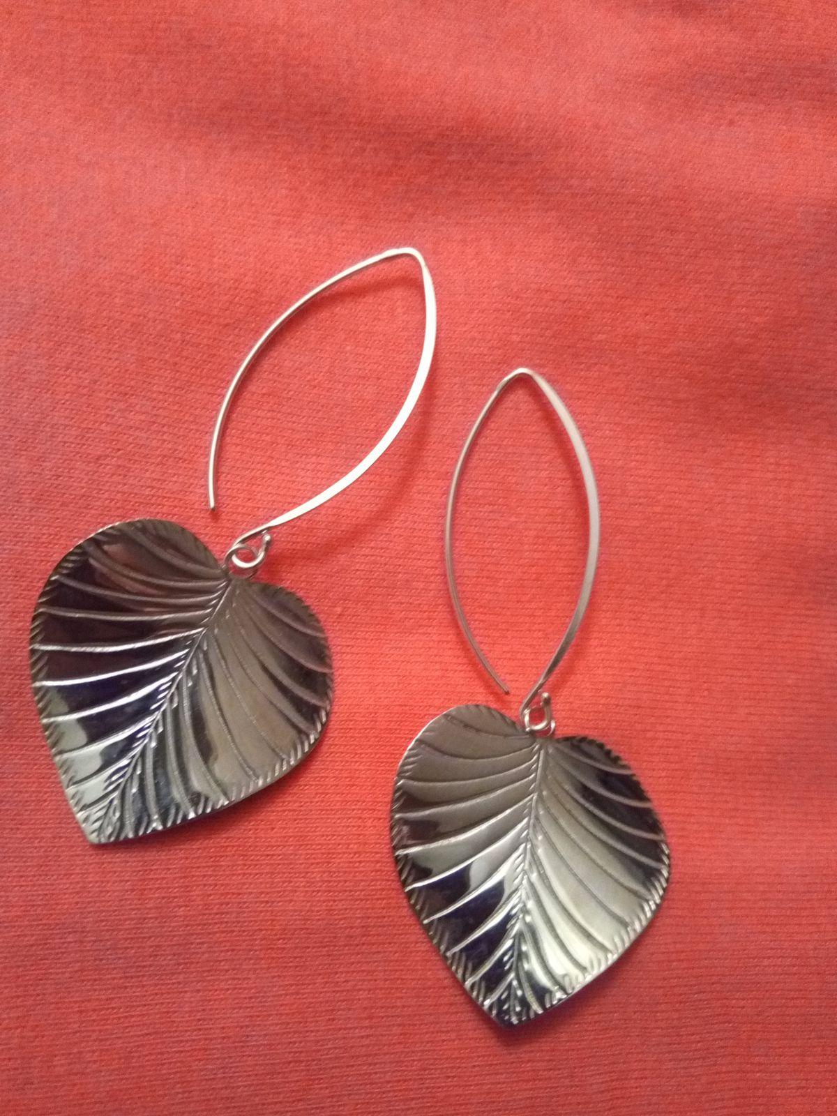 Серебряные серьги- листики