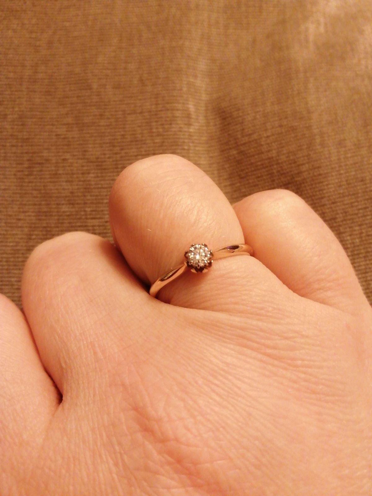 Кольцо с бриллиантом, а-ля винтаж