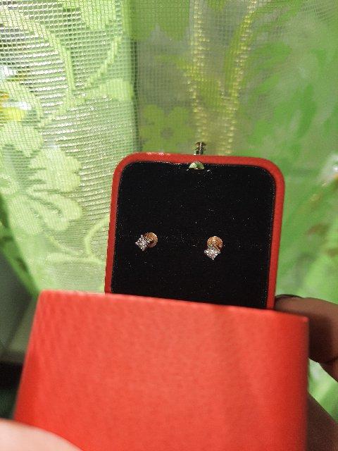 Золотые серьги  с маленькими,  но заметными  брилиантиками