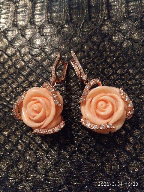 Серьги Розы с брильянтами