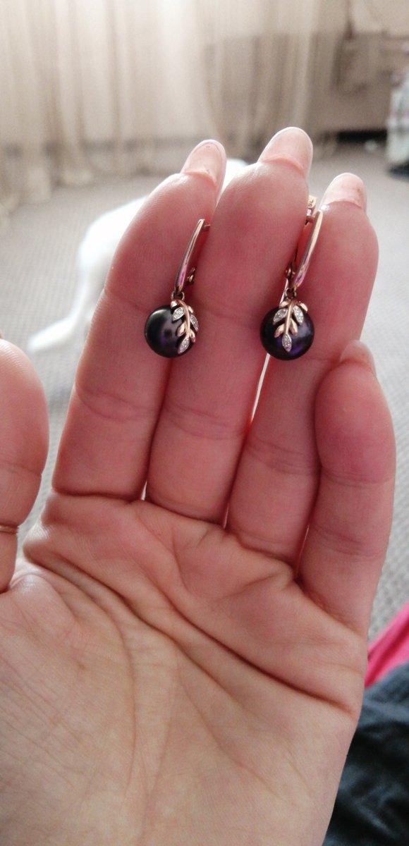 Серьги с чёрным жемчугом и бриллиантами