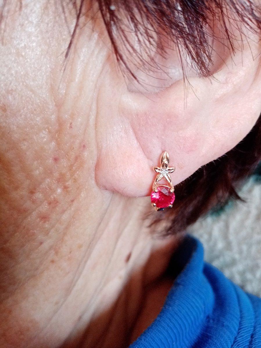 Серьги маме на Юбилей с рубина и и бриллиантиками