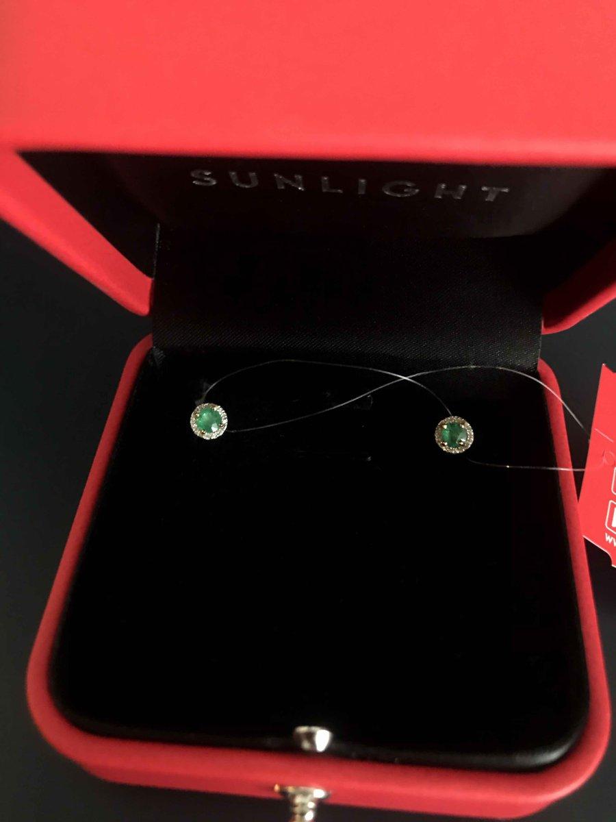 Пусеты с изумрудами и бриллиантами