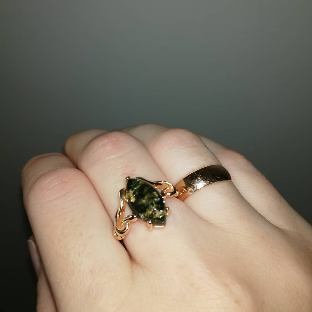 🔥💣😍💕Серебряное кольцо с янтарем от Санлайт.