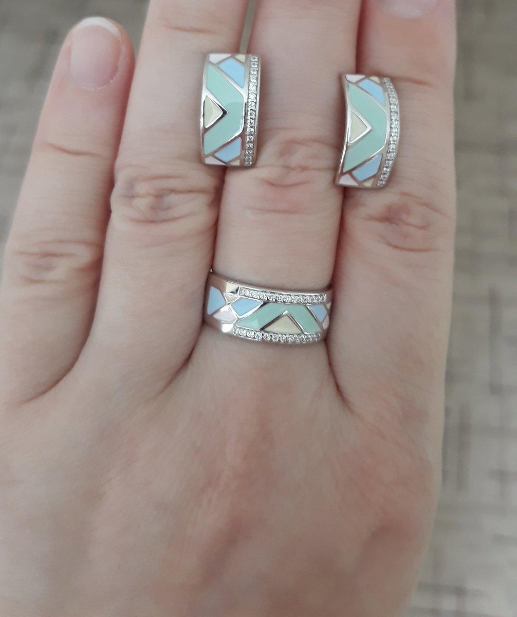 Серьги серебряные с эмалью