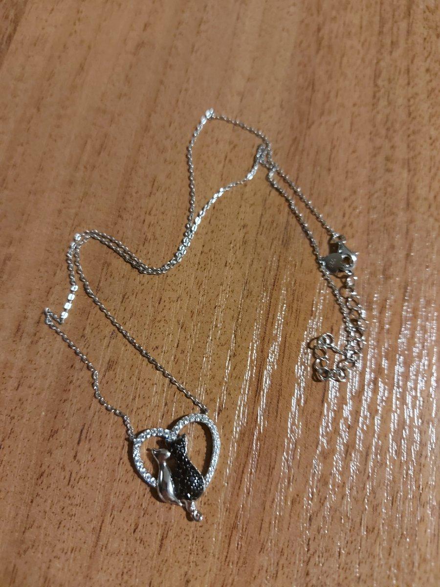 Серебряный кулон Сердце с кошечками