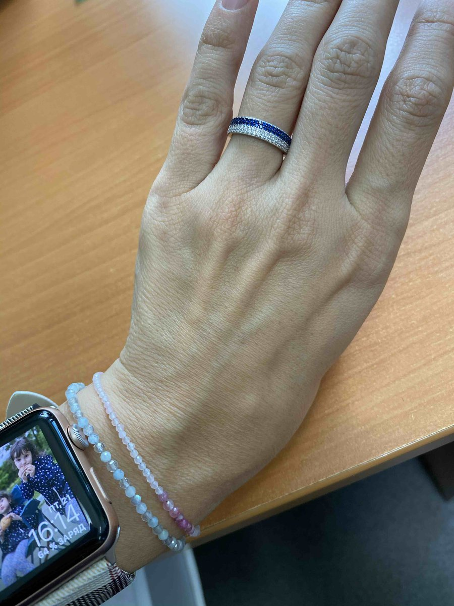 Кольцо с синими фианитами.