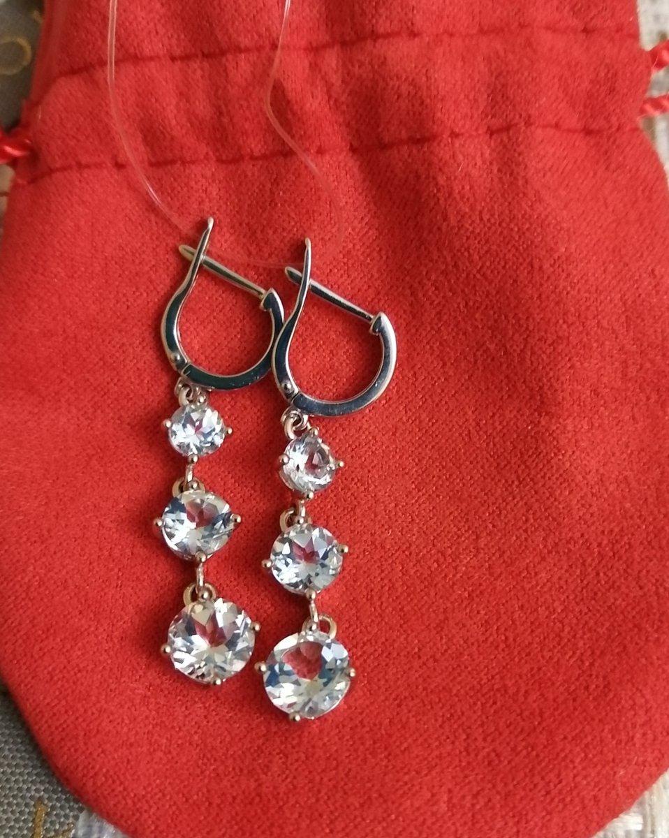 Серебрянные серьги с топазами