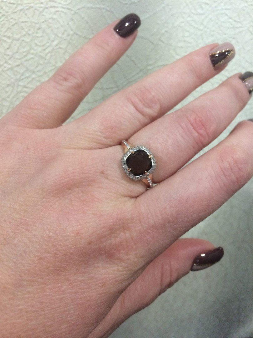Кольцо с раухтопазом и фианитами