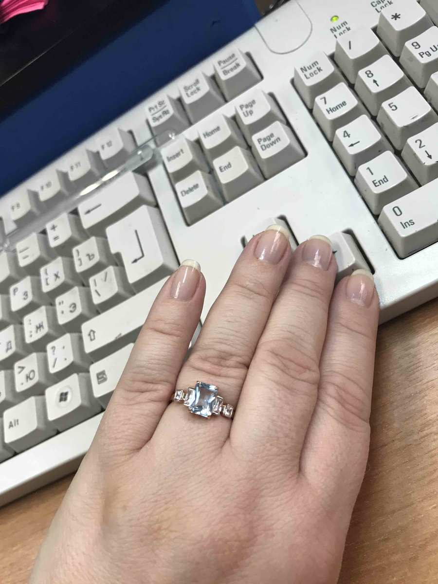 Набор серьги и кольцо с топазами