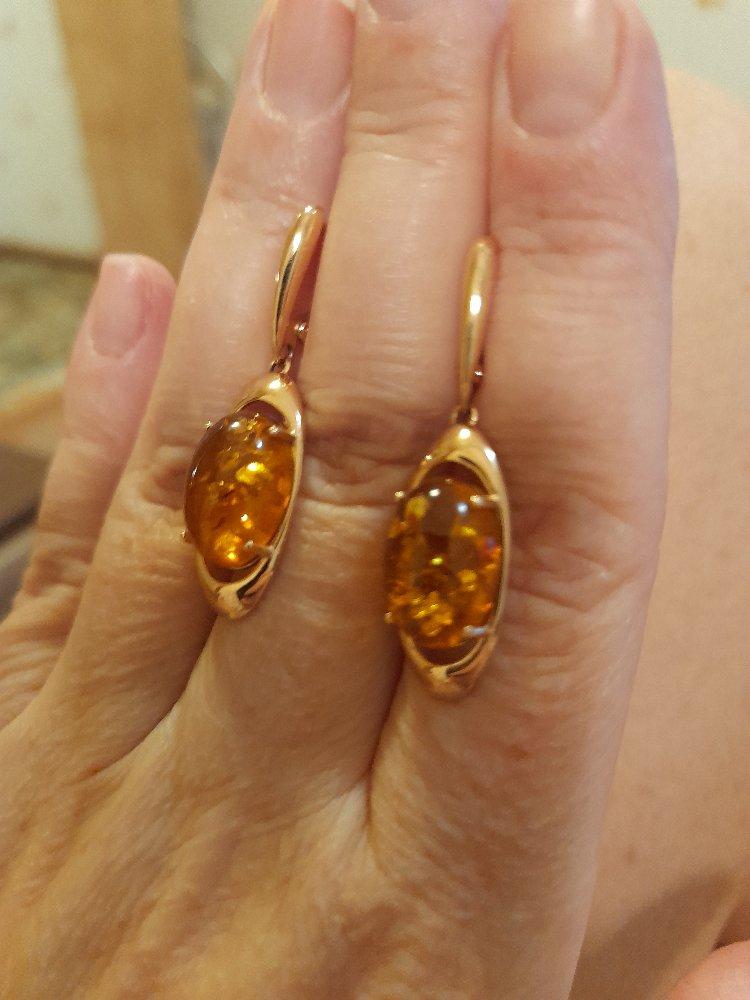 Серьги с медовым янтарем