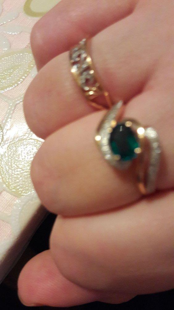 Кольцо с изумрудом и брилиантиками