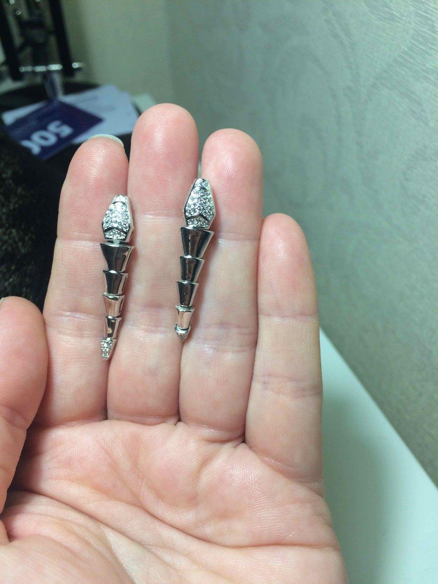 Серебряные серьги змейки