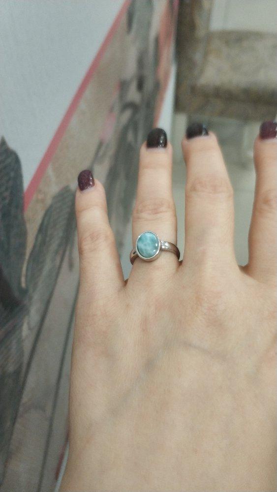 Серебряное кольцо с ларимаром.