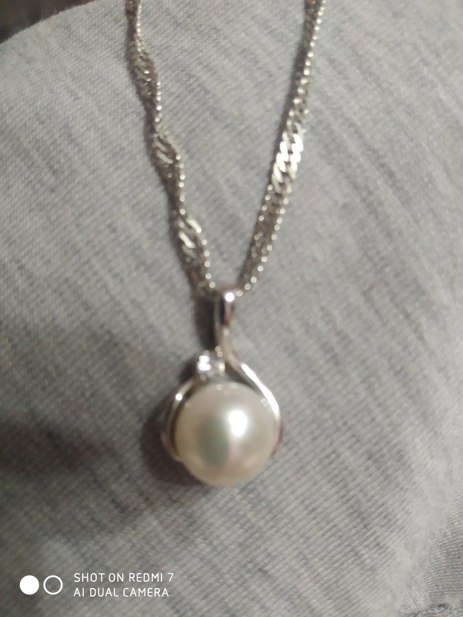 Подвеска. серебро. жемчуг культивированный, фианит.