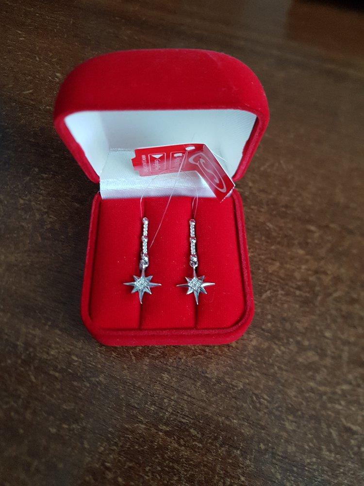 Серьги серебряные со звездами.