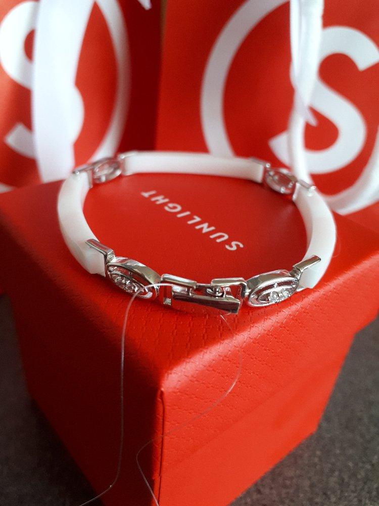 Серебряный браслет с керамикой и фианитами-нежный, изящный и элегантный!!!