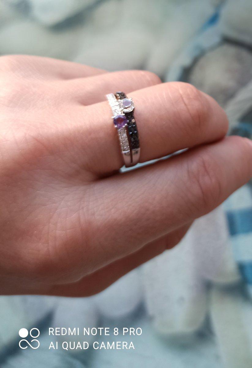 Кольцо с аметистом, топазом и бриллиантиками