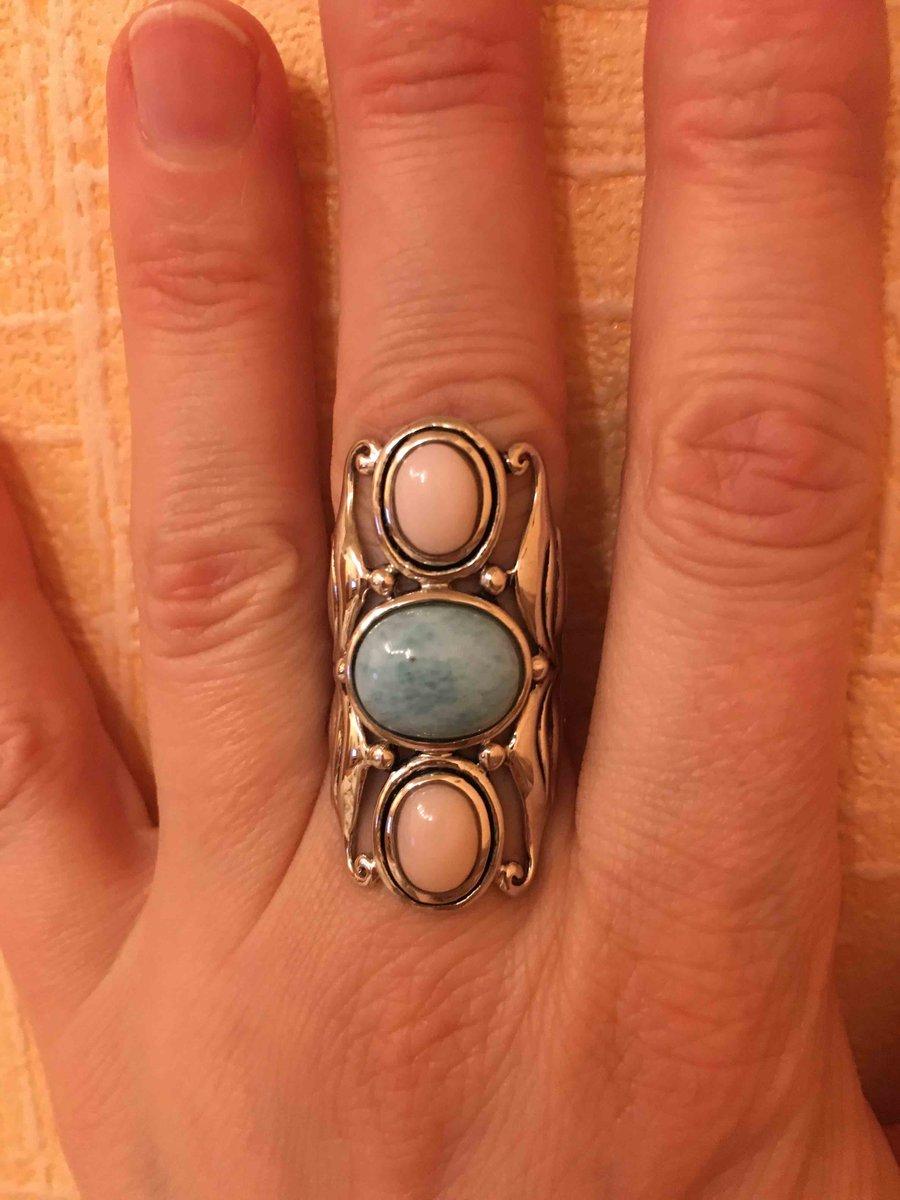 Кольцо с ларимаром и розовыми опалами