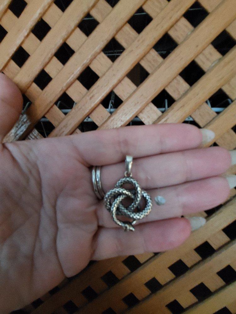 Серебряная подвеска змеевик.
