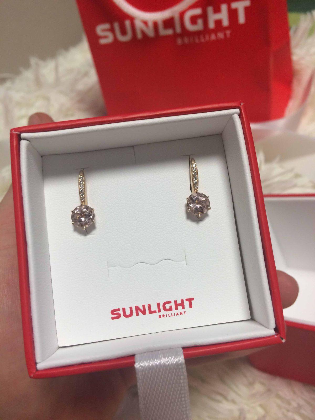 Золотые сережки с 2 розовыми морганитами и маленькими фианитами💕