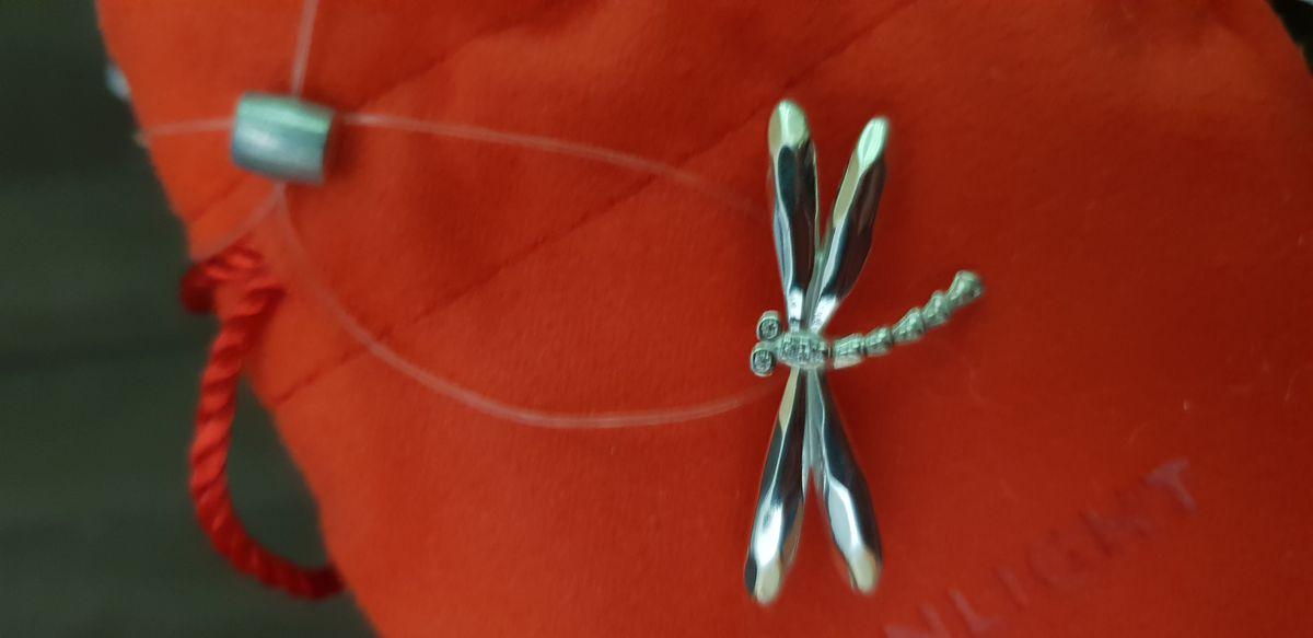 Серебряная брошь стрекоза