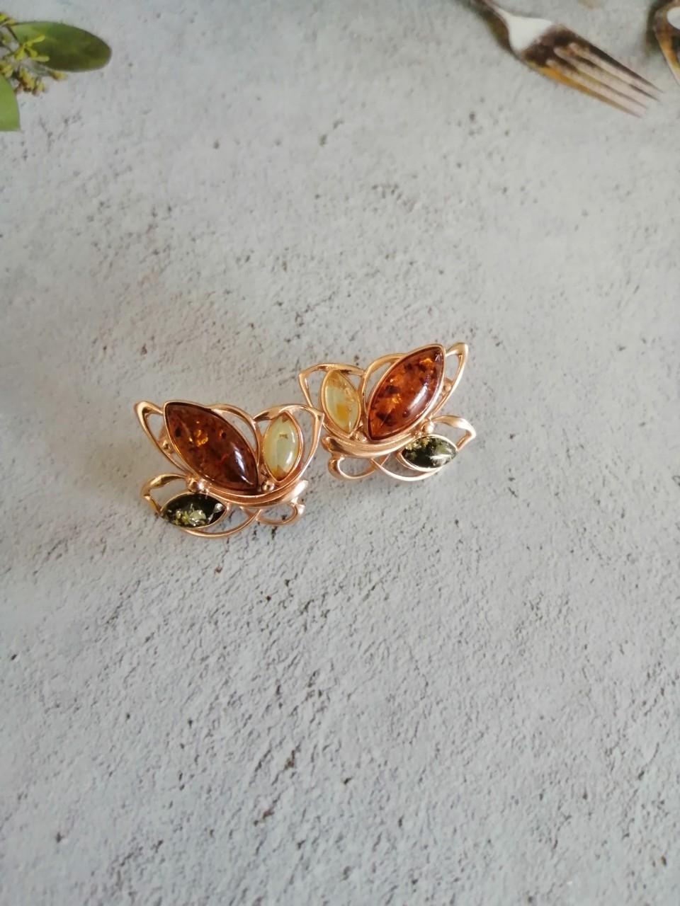Сережки с янтарем