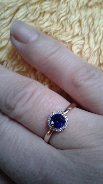 Золотое кольцо с сапфирами и брилянтами, 14 брилянтами и 1 сапфир 585 проба