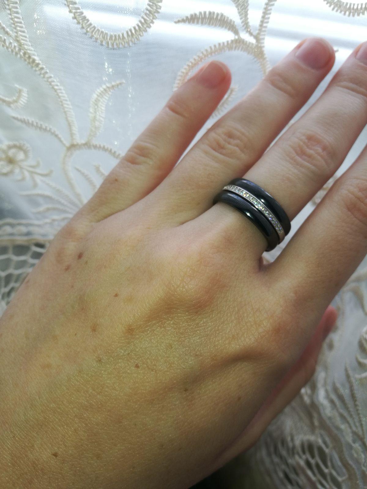 Кольцо керамическое, фианит, серебро