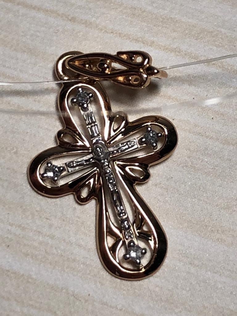 Православный крестик с бриллиантами