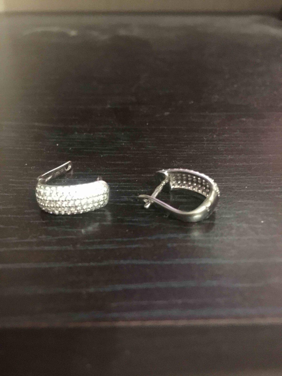 Серебрянные сережки, дорожки, с фианитами