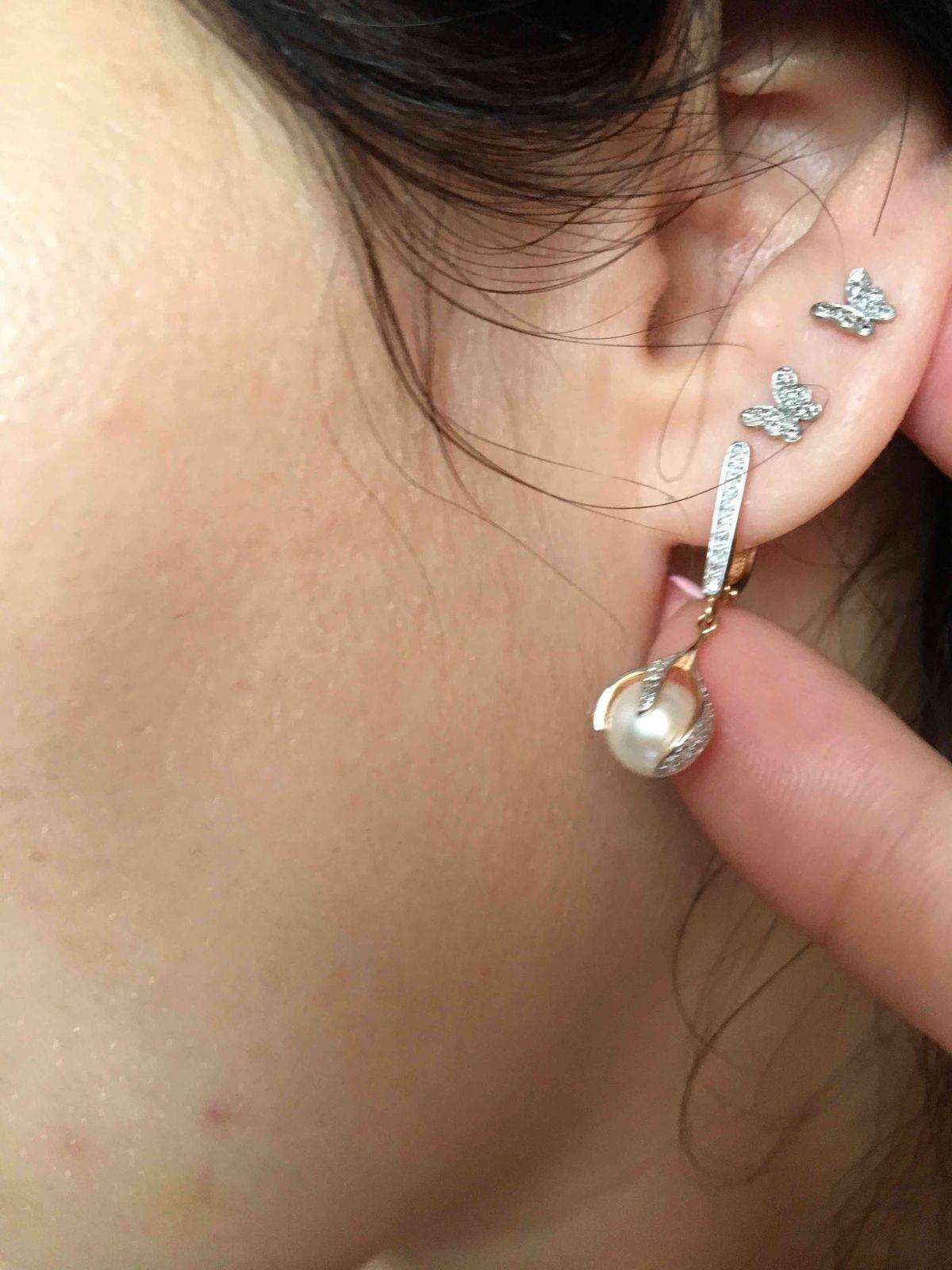 Серьги с бриллиантами и жемчугом