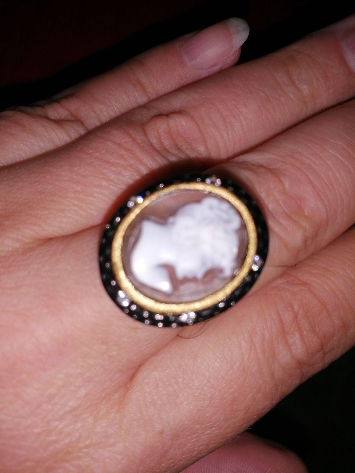 Кольцо камея агат серебро