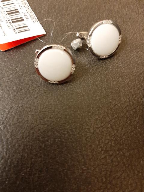 Серьги и браслет из белой керамики