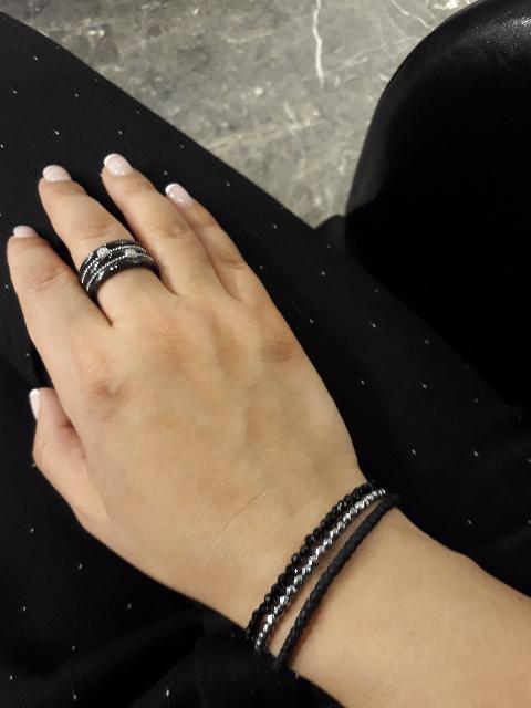 Кольцо из керамики с серобром иифиантитами